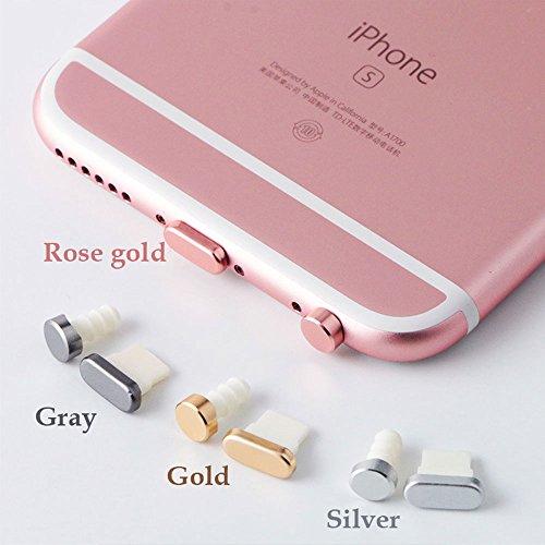 5 in1 イヤホンジャック アルミ アクセサリーセット アルミ合金 iPhone 7 6 6S Plus (ローズキン)