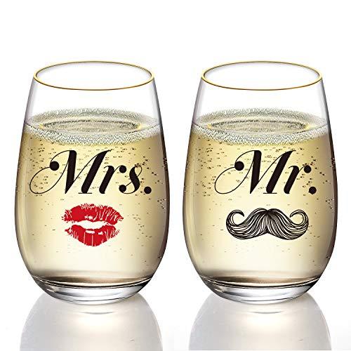 ペアグラス プレゼント 結婚祝い タンブラー ワイングラス Mr. & Mrs. 結婚記念 ホワイトデーギフト バレンタイン クリスマス カップル 彼女 彼氏 夫婦 食洗機対応 2点セット