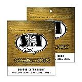 SIT STRINGS エスアイティストリングス アコースティックギター弦 GoldenBronze Extra Light 2セットパック GB1048TP .010-.048【国内正規品】