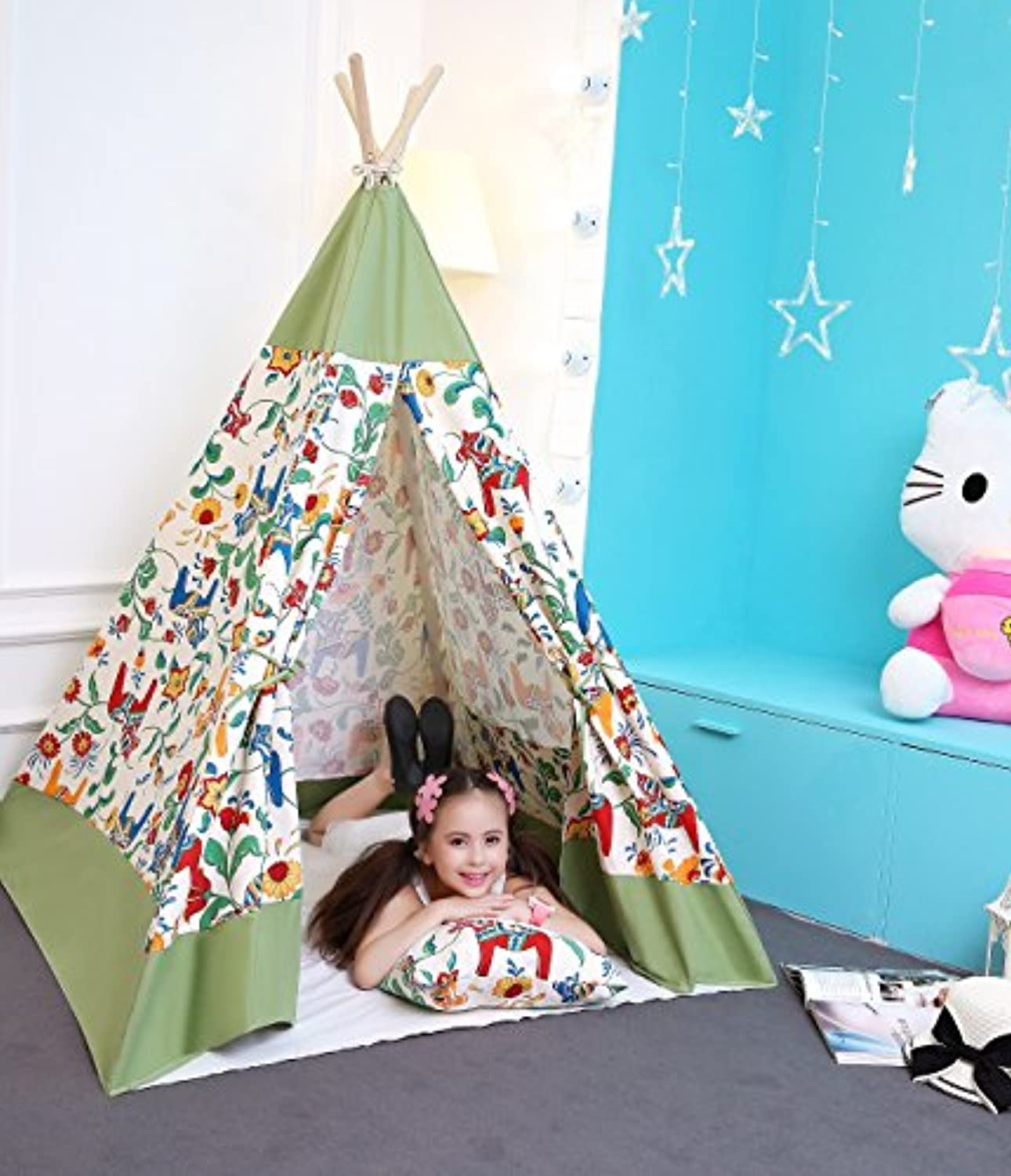 UKadou キッズテント - Teepee Play Tent Kids インディアン 子供用テント (ポニーパターン) (女の子)