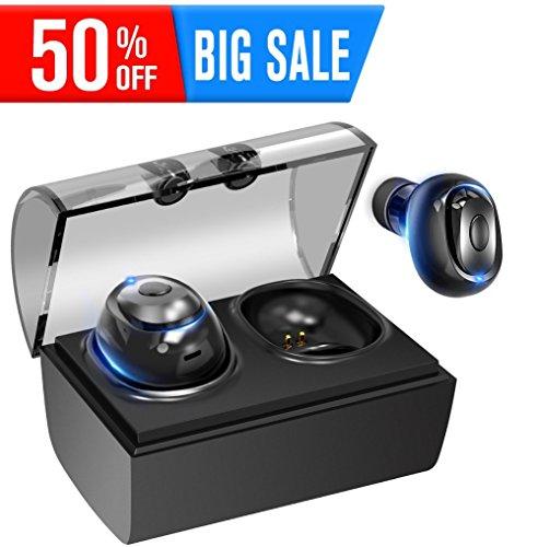 [해외]세계 최경량 헤드셋 불과 3.8gBluetooth4.2 전체 무선 이어폰 블루투스 마이크 내장 원 버튼 디자인 한쪽 귀 양쪽 귀 모두 지원 무선 충전 박스와 방지 땀 방수 방적 방진 중저음 장시간 연속 재생 (블랙)/World`s lightest headset only 3.8 gBluet...