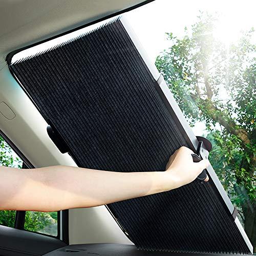 車用遮光サンシェード 車窓日よけ 遮光フロントサンシェード サンシェードカーシェード カーフロントガラスカバー フロントカバー 日焼け止め uvカット便利なストレージ 自動折りたたみ式 切断可能 取り除く必要がない 遮光断熱 (70(H)CM)