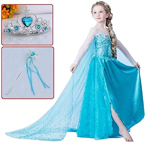 d6726f7255625 アナと雪の女王 エルサ 風 コスプレ 衣装 コスチューム (ドレス+マント+ティアラ