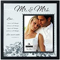Malden International Designs Wedding Mr. and Mrs. Glass Floater Picture Frame, 8 by 10-Inch [並行輸入品]
