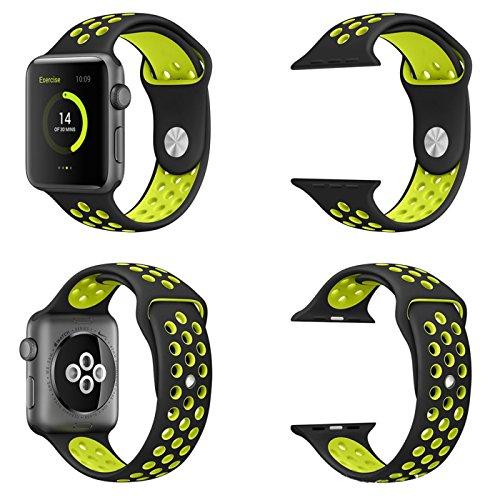 【万屋】Apple Watch スポーツバンド 全16色 高級シリコンバンド Apple Watch Series 3 / Series 2 Series 1 に向け 専用スポーツバンド 通気 汚れ防止 水洗い可 Apple Watch 人気スポーツバンド (Apple Watch 42mm, ブラック+イエロー)