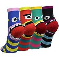 Cansok 4/5 Pack Women's Art Fun Novelty Dress Crew Socks