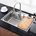 Homelava 流し台 キッチンシンク まな板付 304ステンレス製流し台 (蛇口付き)