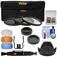 Vivitar 3ピースコーティングHDフィルタセット( 77mm UV / CPL / nd8) withボディ&背面レンズキャップ+フード+吹き出し口+レンズブラシ+キットfor Nikon DSLR Cameras