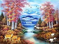 Diyの油絵子供のためのデジタル油絵大人初心者16x20インチ、水を飲む動物--クリスマスの装飾ホームインテリアギフト (フレーム)