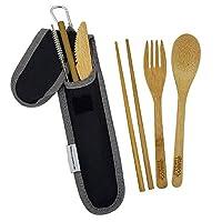 バンブートラベル用品セット バンブーフォーク ナイフ スプーン 箸 ストロー ストロークリーニングブラシ トラベルポーチ カラビナ 日常使いに最適 Bamboo Essentials ブラック