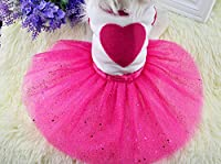 Bigeyedog犬服夏のドレスビッグハートチュチュドレスウェディングパーティー犬ペット服プリンセスドレススカートアパレルコスチューム:赤、S