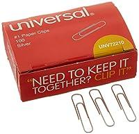 Universal :ペーパークリップ、滑らかな仕上げ、1号、シルバー、100、ボックスあたり10ボックス/パック–: -の2パックとして販売–1000–/–Total of 2000各
