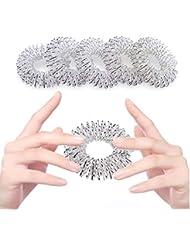 5パック指マッサージリング指圧マッサージリング中国医学ケア療法リラクゼーション循環マッサージのための美しい手 (銀色)