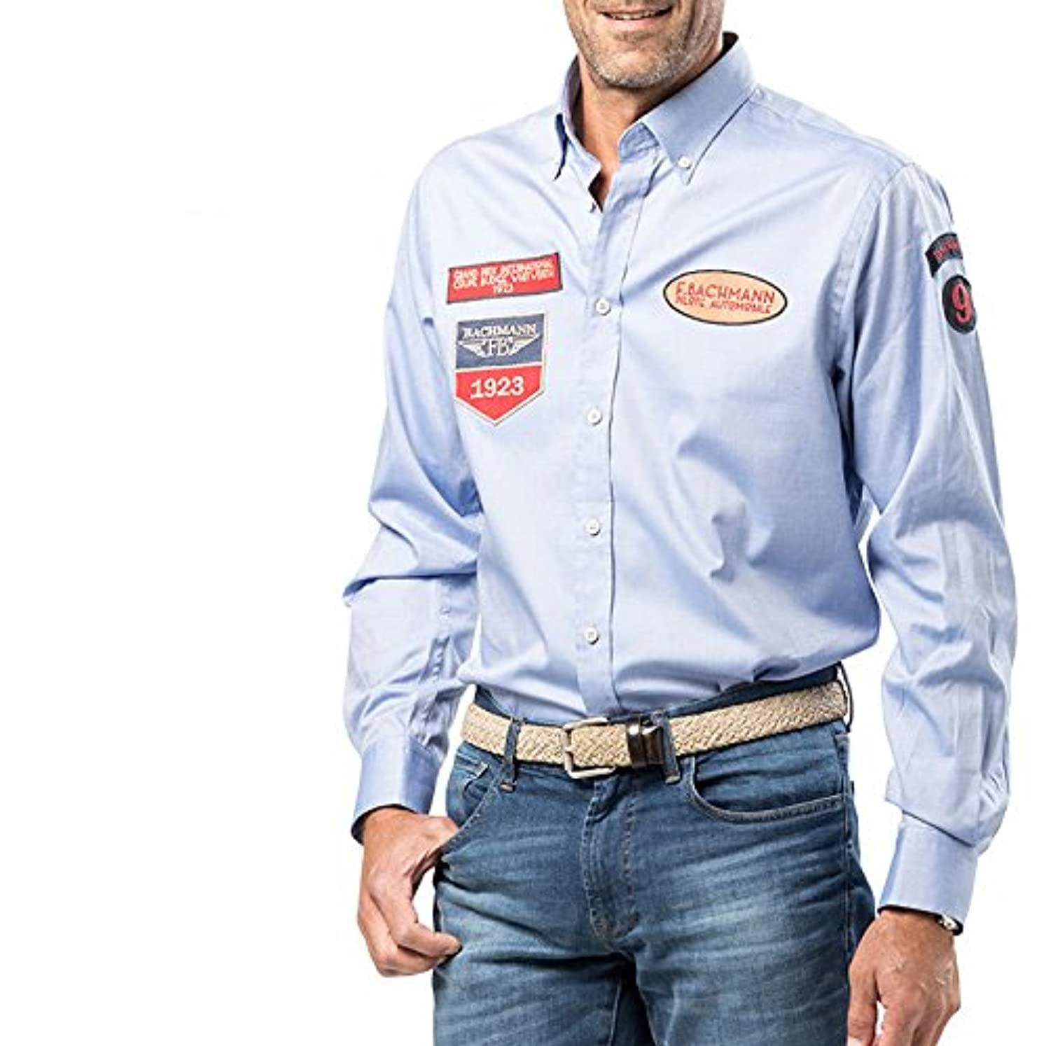 非行モートなんとなくFERNAND BACHMANN(フェルナンド バックマン) スペシャル エキュソン シャツ メンズ 長袖 コットン ボタンシャツ スカイ Mサイズ
