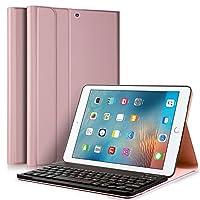 KuGi iPad 9.7 2017 キーボード 専用 Bluetooth キーボード ケース スタンド機能カバー Apple iPad 9.7インチ 2017モデル ワイヤレス 一体型 脱着式 手帳型 PUレザーケース付き 電池内蔵 持ち運び便利 無線キーボード 新型 iPad 9.7 2017 インチ Tablet 対応 (iPad 9.7 2017, ローズゴールド)