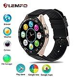 Smart Watches Best Deals - LEMFO KW88 3G WIFI Smart Watch メッセジー通知 遠隔カメラ 歩数計 心拍モニター GPS定位 Google地図 Wechat 一体腕時計 Android 5.1 対応 (ゴール+ 黒) [並行輸入品]