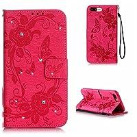 CUSKING iPhone 7 Plus/iPhone 8 Plus ケース レザー 手帳型 ケース キラキラ おしゃれ ローズ 花 柄 バタフライ 蝶 パターン フリップ カード収納 ストラップ付き 滑り防止 落下防止 ケース カード アイフォン 7 Plus / 8 Plus 用 - ホトピンク