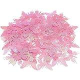 Blesiya 約100枚 紙吹雪 サテン バタフライ 蝶 可愛い 装飾 手作り プレゼント 飾り 3色選べる - ピンク