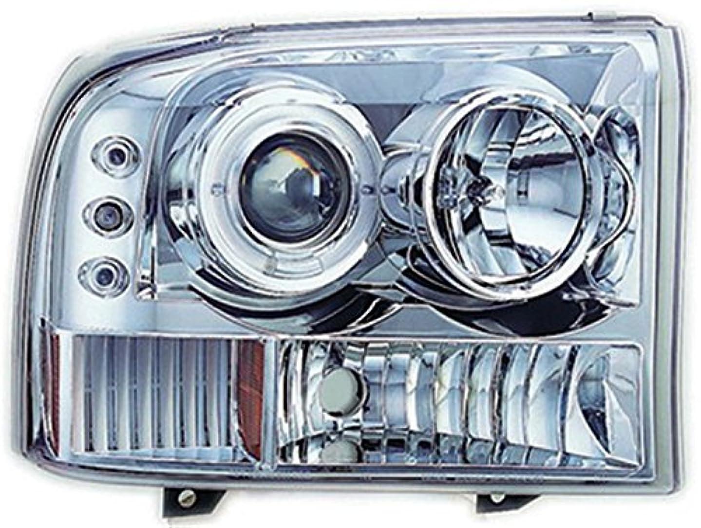 ジャンプある不注意IPCW CWS-500C2 Ford Excursion 2000 - 2004 Head Lamps, Projector With Rings & Corners Chrome