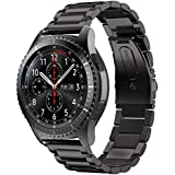 EloBeth for Gear S3 Stainless Steel Bands Link Bracelet Strap for Huawei Classic 2 / Gear S3 Classic/Gear S3 Frontier/Pebble Watch Band Black