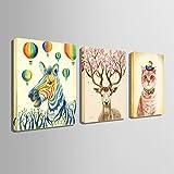 動物の装飾的な油絵(かわいいシマウマ、鹿と子猫)リビングルーム装飾絵画平野手塗りキャンバスソファ背景壁壁掛け絵画レストランベッドルーム壁画ソファの背景の壁壁掛け手書き油彩油絵風景画絵画抽象芸術作品 (35CM*50CM)
