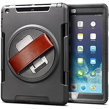 FINON【多機能ハイブリッドタブレットケース】iPad mini1/2/3 専用 [スタンド+ハンドストラップ+保護キャップ 一体型モデル] 本体カラー:ブラック ベルトカラー:ブラウン 簡易パッケージ