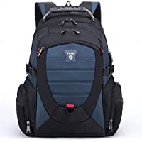 Tzowla Travel Laptop Backpack, Anti-Theft Water Resistant Business Backpack, TSA Lock & USB Charging Port, TSA Friendly Computer Backpack, Men Women College School Bag, Fit 16 Inch Laptops (Blue)