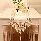 刺繍レーステーブルランナーエレガントなヴィンテージテーブルランナー、ドレッサースカーブキャビネットダイニングルームテーブル装飾 (40x200cm)