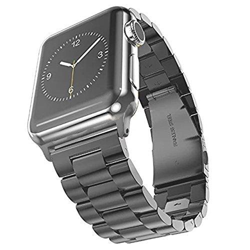 SUNDAREE® for Apple Watch バンド42mm&44mm, ビジネス風のベルト、アップルウォッチ バンド アダプター付き 42MM、高品質なステンレススチール製バンド、ステンレス留め金製、Apple Watch ベルト 全機種対応 Apple Watch Series 4/3/2/1(スチール製 グレー 42&44mm)