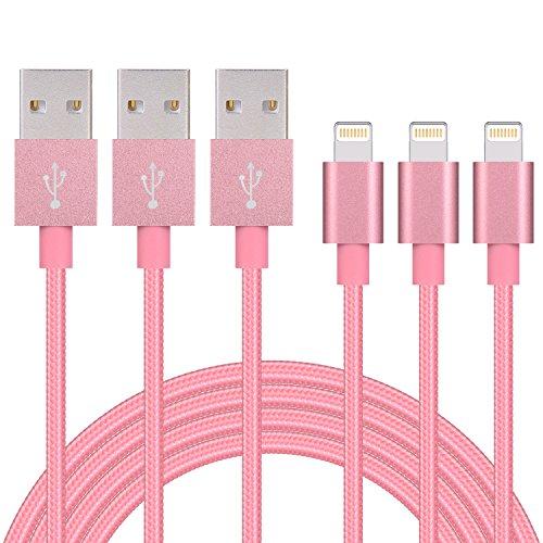 Noueiru【1M 3本セット】ライトニング ケーブル 高耐久ナイロン Lightning ケーブルの同期とUSB充電ケーブル iPhone 7/7 Plus /6s/6s Plus/6 Plus/6/iPhone5/5C/5S/SE/iPad/Air/Mini/Mini2/iPad 4/iPod 5/iPod 7に対応 Nano/Touch, ios10互換 - ローズゴールド