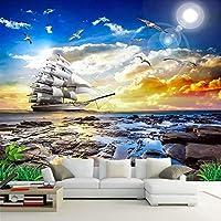 写真の壁紙3Dシービューシーガルヨット日の出風景絵画リビングルームのソファ寝室の壁の壁画デパレデ3D-100x144cm