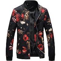 HENGAO Men's Stylish Printed Zipper Front Bomber Jacket