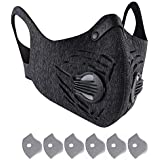 Dust Mask, LT Reusable Dust Pollution Mask with Activated Carbon Filter for Running, Cycling, Woodworking Outdoor Activities (1Gray Mask+6 Filter)