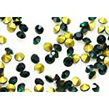 ガラス製 Vカットストーン(埋込型)emerald エメラルド 各サイズ選択可能 (1.6mm (SS4) 約1440粒) [並行輸入品]