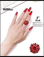 FLG-01 キラキラ上品なフリーサイズラインストーンリング 9色 (4# 赤色)