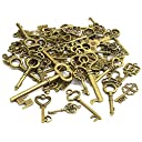 UNATA. 鍵 チャーム パーツ 40種類 セット 金古美 アンティーク キー アソート 40個 使いやすいサイズ (アンティーク)