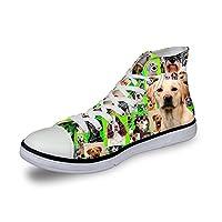 ThiKin スニーカー キャンバス 犬 カジュアル 靴 シューズ 3Dプリント 個性的 軽量 通気 おしゃれ ファッション 通勤 通学 プレゼント レディーズ メンズ