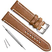 Handmade Vintage Replacement Leather Watch Strap/Watch Band (24mm Sliver Buckle/Brown)