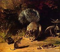 ¥5K-200k 手書き-キャンバスの油絵 - 美術大学の先生直筆 - Squirrel and Mice William Holbrook Beard 絵画 洋画 複製画 ウォールアートデコレーション -サイズ15