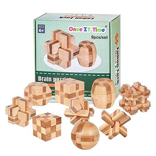 Once ZY Time パズル 竹製 孔明パズル 3D 立体パズル パズルゲーム パズルおもちゃ 積み木 知恵おもちゃ 知的玩具 脳トレ コンパクト 9pcsセット