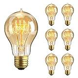 KINGSO ヴィンテージ エジソン電球 タングステン フィラメントライト ループスタイル ホーム照明器具装飾用 白熱電球 調光器対応 電球色 A19-E27 23アンカー ガラス 60W 110V 6個入