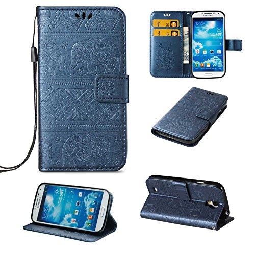CUSKING Galaxy S4 ケース 手帳型ケース 高品質 PUレザー フリップ カバー 無地 おしゃれ 全面保護 耐衝撃 ギャラクシ S4 保護ケース ストラップ付き カード収納 スタンド機能 - ブルー