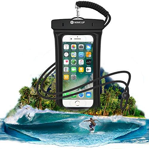 防水ケース NineUp 指紋認証対応 水に浮く スマホ用防水ポーチ アイフォン防水防塵カバー iPhone SE/5/5s/6/6s /Plus/7/7s Sony/Samsung/Huaweiなど6インチ以下全機種対応 高感度タッチスクリーン ネックストラップ(首掛け付き) IPX8認定 水中撮影 お風呂/潜水/温泉/水泳など適用(6インチ, ブラック)