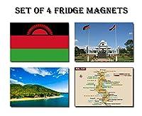 セットの4Malawi冷蔵庫マグネット冷蔵庫マグネット–Malawi FlagマラウイマップマラウイAttractions