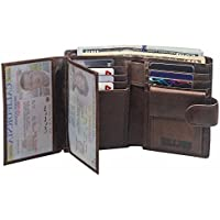 Wallet for Men - RFID Blocking Trifold Vintage Genuine Leather Card Case Wallet