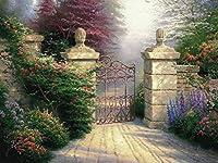 手描き-キャンバスの油絵 - 美術大学の先生直筆 - The Open Gate Thomas Kinkade ガーデン - 芸術 作品 絵画 洋画 現代の コンテンポラリー -サイズ01