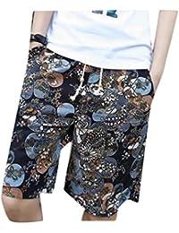 aicessess Men's Folk Style Linen Cotton Bechwear Summer Casual Printing Board Shorts