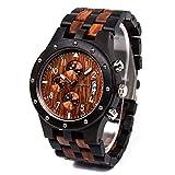 BEWELL木製腕時計 Wood Watchウッド 腕時計メンズ木製腕時計 男性用木製腕時計 紳士 カコイイデザイン 夜光 生活防水機能 手作り カレンダー付き 贈り物 プレゼント包装
