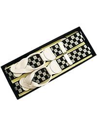 (ブレイス)Brace 6ボタン止め サスペンダー メンズ 紳士 英国 AZ Black/White ブラック ホワイト Check/WhiteLeatherend B453