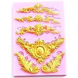 Yalulu Baroque Style Relief Lace Silicone Molds Fondant Cake Chocolate Mold Kitchen Baking Cake Border Decoration Tools